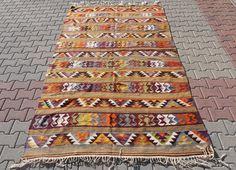 VINTAGE Turkish Kilim Rug Soft Camel Wool by TurkishCraftsArts