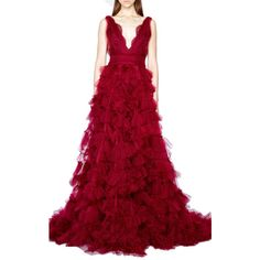 Marchesa Embroidered V-Neck Tulle Ball Gown ($8,995) ❤ liked on Polyvore featuring dresses, gowns, marchesa gowns, tulle ball gown, tulle gown, deep v-neck dress and red ruffle dress