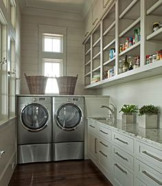 Neutral laundry room and pantry