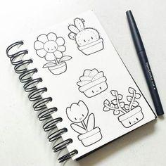 Kawaii plant doodles 🌱 - New Deko Sites Easy Doodles Drawings, Cute Easy Drawings, Sketchbook Drawings, Simple Doodles, Art Drawings, Kawaii Doodles, Cute Doodles, Doodle Books, Doodle Art