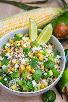 Esquites Quinoa Salad with Avocado. (Roasted corn)