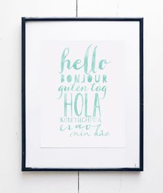 Introduce languages at an early stage with this Hello Watercolor Art Print by SMc. Originals. Each print is a reproduction of my original watercolor
