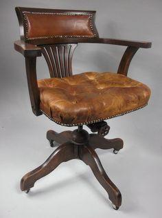Tilt U0026 Swivel Desk Or Office Chair C. 1910   Antiques Atlas