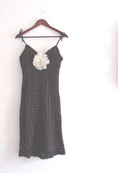Sale Romantic Little Black Crochet Dress Small Medium by KheGreen