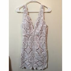 Hello Molly white and tan lace dress Brand new! Never before worn hellomolly.com lace dress Hello Molly Dresses Midi