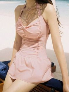 Sweet Halterneck Ruffled Narrow Waist Women's Swimwear One-Pieces | RoseGal.com