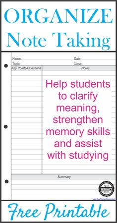 How To Help Students Take Organized Notes Do you work with students who need help taking organized notes? Do you have students who struggle with working memory?The Cornell Note Taking System helps students to take effective, organized notes and study the material.
