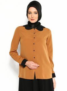 Dalgalı Yaka Gömlek - Taba -Yaren Life :: habireal.com