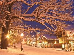 """Leavenworth, Washington  - """"During the town's Christmas Lighting Ceremony, trees and storefronts are lit one by one as the crowd sings """"Silent Night"""" and other holiday tunes. Since Leavenworth receives so many visitors each the holiday season, the lighting ceremony is held during the first three weekends of December to give everyone a chance to see this one-of-a-kind Christmas spectacle."""""""