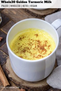Golden Turmeric Milk (Hot or Iced) Dairy and caffeine free Golden Turmeric Milk recipe. This frothy creamy delicious beverage is anti-inflammatory, fights colds, and with no added sugar. Good for hot or iced cold beverage. Paleo Keto and Vegan friendly. Best Nutrition Food, Health And Nutrition, Health Tips, Nutrition Guide, Health Care, Nutrition Products, Fitness Nutrition, Health Benefits, Cooking