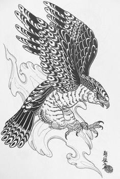 Image result for japanese vintage hawk illustration