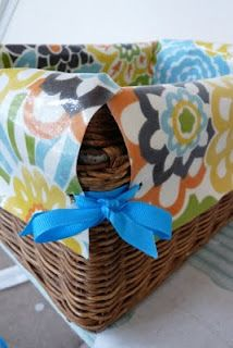 No Sew Simple Basket Liner (I'd tweak some of the middle steps as we don't have fabric to waste by layering)