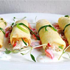 Crab meat cream cheese crepe roll with yogurt mustard sauce
