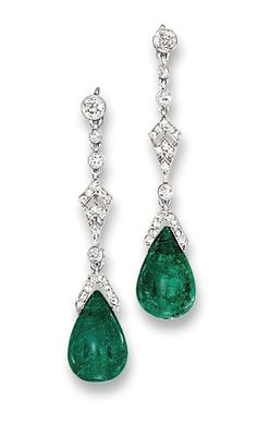 A PAIR OF BELLE EPOQUE EMERALD AND DIAMOND EAR PENDANTS, BY CARTIER   Each suspending an emerald drop to the rose-cut diamond cap and kite-shaped panel with diamond collet connecting links and circular-cut diamond surmount, circa 1915, 4.3 cm long, in fitted cream leather Cartier case  Numbered 32441