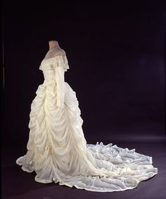 Wedding dress, 1947 -- handmade by the bride -- using the material from the nylon parachute that saved the groom's life during WWII. Photo: Costume Collection of the National Museum of American History, Smithsonian
