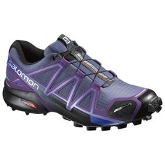 54f4ccd50390 Salomon Womens Speedcross 4 CS Trail Running Shoes Slate Blue Cosmic Purple  Black 85 Spare Quicklace Bundle    To view further for this item