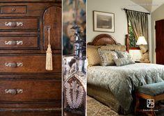Farmhouse bedroom and hand carved furniture.  Maraya Interior Design