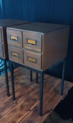 I WANT THESE! ...Industrial Upcycled Bedside Cabinets Library File Drawers Tables x2