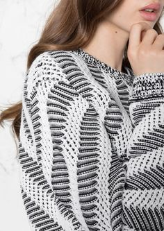 1c0a96205bd81 Other Stories image 4 of Cropped Graphic Knit in White Black Monochrome  Outfit