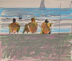 Alberto Morrocco (1917-1998) - Looking out to Sea - Pastel and ink drawing