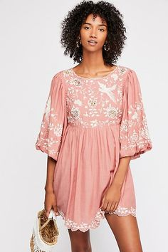 Boho-inspired babydoll mini dress featuring allover embroidery detailing accented with sequins. Bubble short sleeves Scalloped trim Keyhole in back with a button closure Hidden side zip closure Boho Mini Dress, Pink Mini Dresses, Mini Dress With Sleeves, Pink Dress, Dress Up, Short Sleeves, Bohemian Style, Boho Chic, Bohemian Clothing