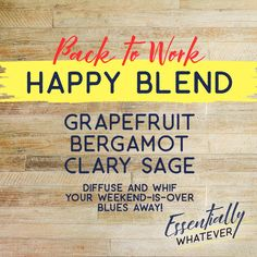 Going back to work on a Monday or a long weekend is the worst, right?   Help enhance your mood and your day back a little more enjoyable with this essential oil blend that combines grapefruit, bergamot and clary sage. A few drops in your diffuser and you are off to a great day.   See more essential oil recipes, information and products at Essentially Whatever - https://www.essentiallywhatever.com  essential oil recipe, blend, diy oil, mood, happy blend, back to work, dr. axe, doterra