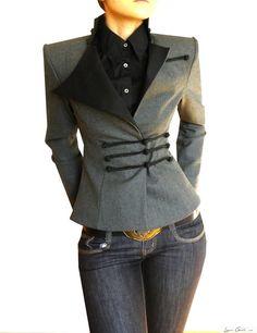 Midi Wrap Blazer, High Shoulder Jacket for Women, Made To Order Look Fashion, Winter Fashion, Fashion Outfits, Womens Fashion, Fashion Design, Moda Outfits, Cute Outfits, Dandy Look, Look Chic