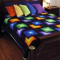 Quilt PATTERN ~ Cosmos ~ Quilting Pattern from Magazine by aftr I like the different colored solid pillows. Bargello Quilts, 3d Quilts, Easy Quilts, Batik Quilts, Jellyroll Quilts, Colchas Quilting, Quilting Projects, Quilting Designs, Quilt Block Patterns