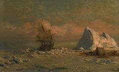 William Bradford (1823-1892), Shipping Vessel with Ice Floes and Figures.