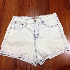 Acid wash high waist shorts Off white/blue high waist shorts! Super stretchy! Selling because it's not my size Urban Outfitters Shorts Jean Shorts