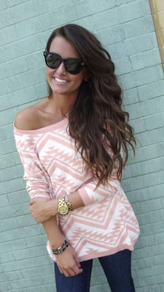 Cozy Aztec Sweater in Peach