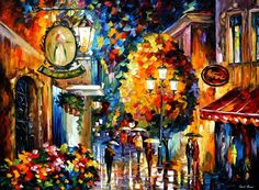 CAFE IN THE OLD CITY - PALETTE KNIFE Oil Painting On Canvas By Leonid Afremov http://afremov.com/-CAFE-IN-THE-OLD-CITY-PALETTE-KNIFE-Oil-Painting-On-Canvas-By-Leonid-Afremov-Size-40-x30.html?bid=1&partner=20921&utm_medium=/vpin&utm_campaign=v-ADD-YOUR&utm_source=s-vpin
