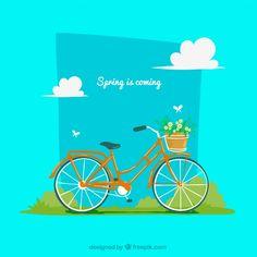 Fondo de primavera con bicicleta y flores Vector Gratis