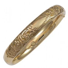 View this item and discover similar for sale at - yellow gold engraved bangle bracelet. The bracelet does open from a hinge and has a safety clasp. Gold Bangle Bracelet, Gold Bangles, Gold Rings, Jewelry Bracelets, Antique Jewelry, Gold Jewelry, Vintage Jewelry, Indian Jewelry, Jewelry Stores
