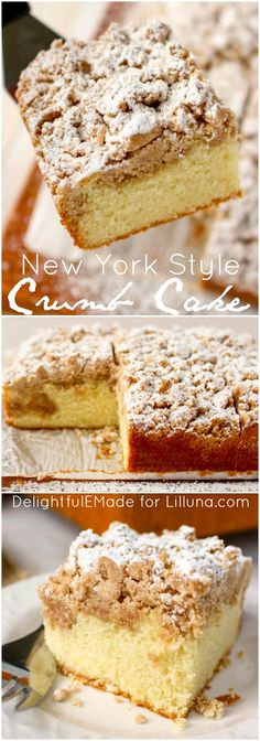If you like the crumb, just as much as the cake then you're gonna love this New York Style Crumb Cake! A moist, delicious bakery-style cake topped with loads of cinnamon sugar crumble and dusted with powdered sugar. Coffee break starts now!