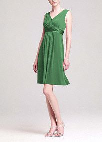 Comfortableand stylish, this jersey dress is a great option for your bridemaids and has plenty of wear-again potential.  Sleeveless tank bodice features elegant V-neckline.  Charmeuse trim highlights the waist.  Jersey fabric flows gracefully for a look that is soft and chic.  Back zip. Imported polyester blend. Hand wash or dry clean.  To protect your dress, our Non Woven Garment Bag is a must have!