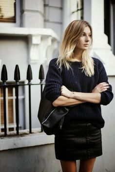 Stylish Black Sweater With Leather Skirt