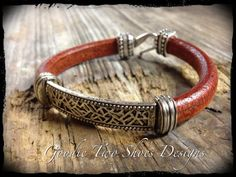 Regaliz Leather Bracelet Leather and Silver by mygoodie2shoes, $38.00