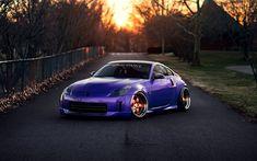 Download wallpapers Nissan 350Z, tuning, stance, purple 350Z, sportcars, Nissan