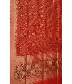 Orange Banarasi Handloom Patola Design Katan Silk Saree