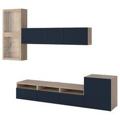 IKEA - BESTÅ TV storage combination/glass doors walnut effect light Ikea Tv, Tv Storage, Storage Spaces, Record Storage, Besta Tv Bank, Glass Front Door, Glass Doors, Tv Bench, Media Furniture