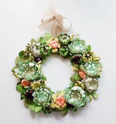 Paper Succulent Spring Wreath