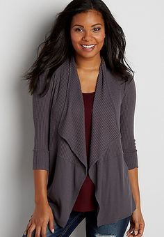 waffle and ribbed knit cardigan   maurices