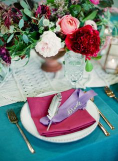 La Tavola Fine Linen Rental: Dupionique Iridescence Aqua with Nuovo Magenta Napkins | Photography: Joshua Ratliff, Wedding Planners: Birds Of A Feather Events, Floral Design: The Southern Table, Venue: Wildcatter Ranch, Rentals: Bella Acento