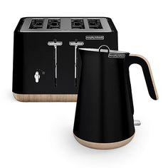 Scandi Black Aspect Kettle and 4 Slice Toaster Set (wooden trim)