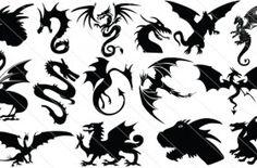 Dragon Silhouette Vector Graphics