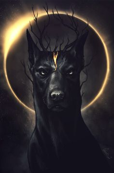 Canine and a solar eclipse.  The eclipse doubles as an aureola, suggesting the god-status of the canine.  The branches sprouting from the canine's head may have significance as well.