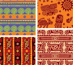 Set of Mexican Seamless Patterns (background, wallpaper, tile, aztec, american indian)