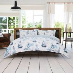Add a touch of harbour tranquillity to your bedroom with Costal Cove's restful Sail Away collection. Featuring a classic sailing boat motif and complementary full stripe reverse in a breezy nautical colour palette. Made from soft durable cotton the luxuriously soft feel against the skin is going to leave you craving a relaxing nights sleep all day.