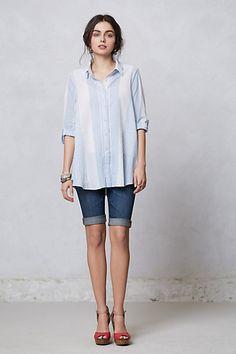 button down + jean shorts